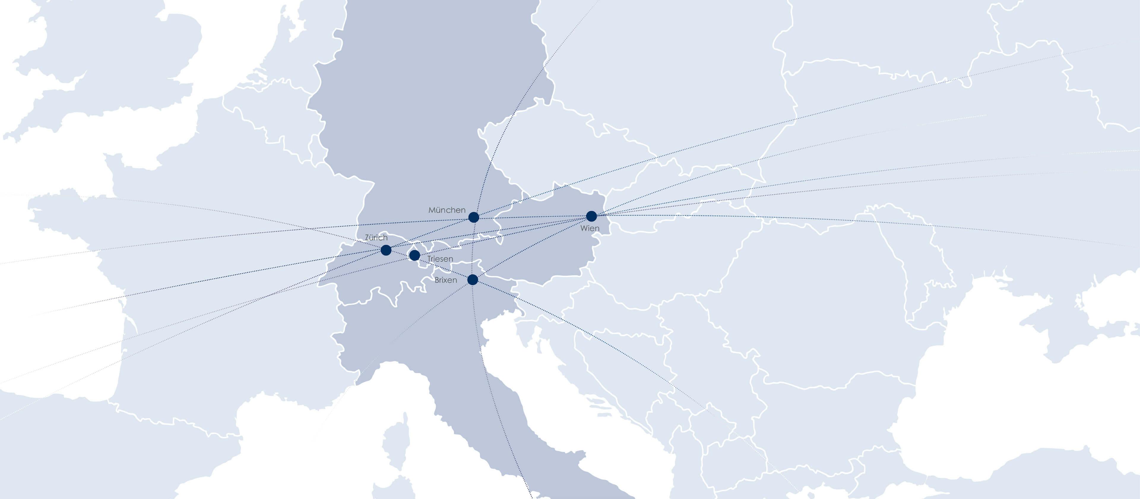Landkarte Niederlassungen von Viehbacher